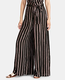 RACHEL Rachel Roy Naida Striped Wide-Leg Wrap Pants