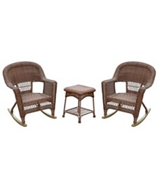 Jeco 3 Piece Rocker Wicker Chair Set without Cushion