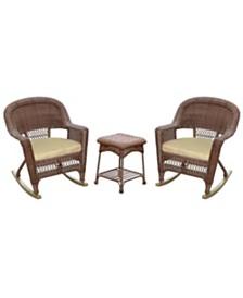 Jeco 3 Piece Rocker Wicker Chair Set with Cushion