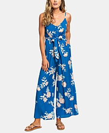 Juniors' Flared Wide-Leg Jumpsuit