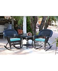 3 Piece Rocker Wicker Chair Set with Cushion