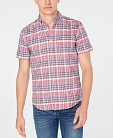 Tommy Hilfiger Men's Slim-Fit Aubrey Plaid Oxford Short Sleeve Shirt