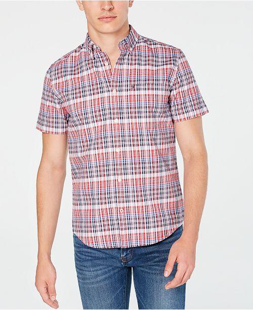 Tommy Hilfiger Men's Slim-Fit Aubrey Plaid Oxford Short Sleeve Shirt