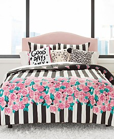 Betsey Johnson Romantic Roses Comforter Set, Twin/Twin XL