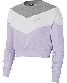 Women's Colorblocked Fleece Cropped Sweatshirt
