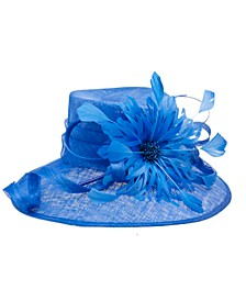 Kentucky Blue Asymmetrical Brim Hat with Large Feather
