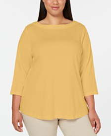 Karen Scott Cotton Plus Size Lace-Trim Top, Created for Macy's