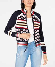 Cotton Printed Zip-Front Sweater, Created for Macy's