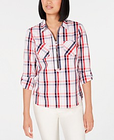 Plaid Zip-Neck Top, Created for Macy's