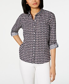 Tommy Hilfiger Cotton Daisy-Print Blouse, Created for Macy's