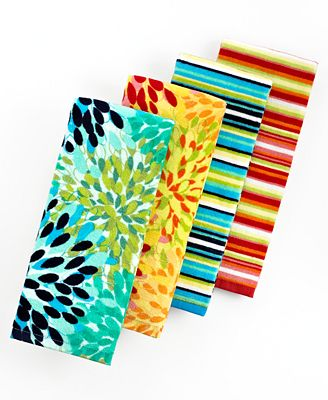 Fiesta Kitchen Towels, Calypso Floral Or Stripe - Table Linens