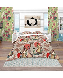 Designart 'Japanese and Chinese Culture Pattern' Oriental Duvet Cover Set - King