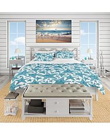 Designart 'Pattern Of Blue Starfish' Coastal Duvet Cover Set