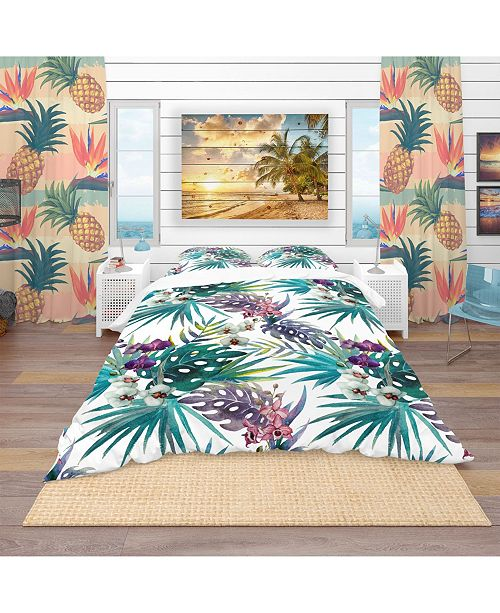 Design Art Designart 'Pattern Orchid Hibiscus Leaves Watercolor Tropics' Tropical Duvet Cover Set - Queen