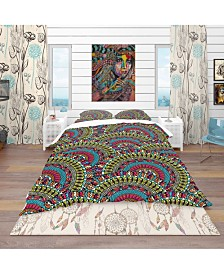 Designart 'Colorful Ethnicity Round Ornament' Bohemian and Eclectic Duvet Cover Set - King
