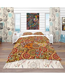 Designart 'Pattern Tile With Mandalas' Bohemian and Eclectic Duvet Cover Set - Twin