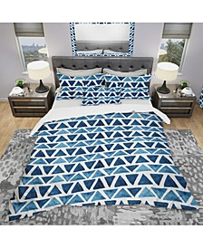 Designart 'Watercolor Modern Pattern With Blue Triangles' Modern and Contemporary Duvet Cover Set