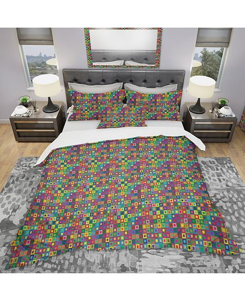 Design Art Designart 'Colors Squares Abstract Pattern' Modern and Contemporary Duvet Cover Set - Queen