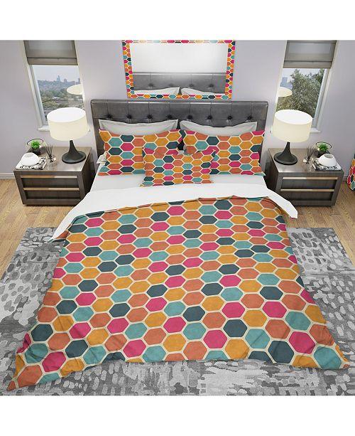 Design Art Designart 'Retro Geometric Pattern' Modern Duvet Cover Set - Queen