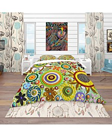 Designart 'Abstract Acrylic Painting On Canvas' Bohemian and Eclectic Duvet Cover Set - Queen