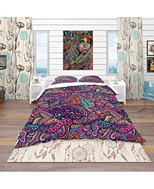 Designart 'Texture With Abstract Flowers' Bohemian and Eclectic Duvet Cover Set
