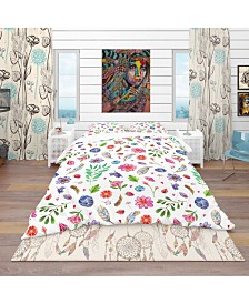 Designart 'Herbal, Gemstones, Flowers, Insects and Feathers' Bohemian and Eclectic Duvet Cover Set - King