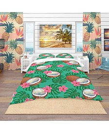 Designart 'Pattern With Coconuts and Flowers' Tropical Duvet Cover Set - Twin