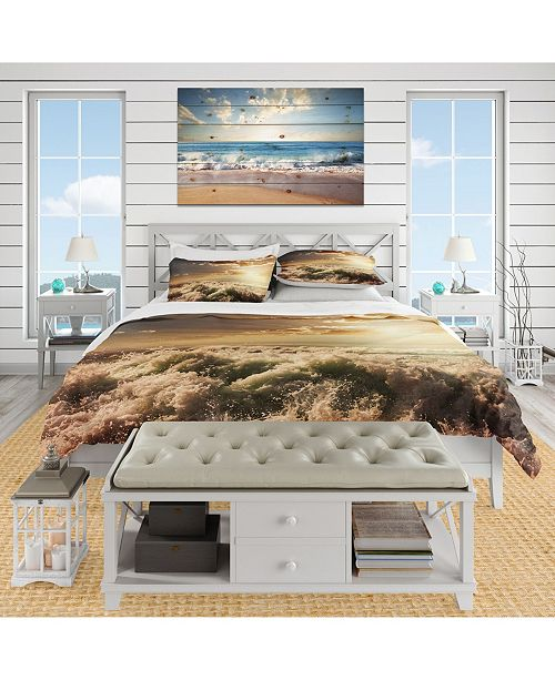 Design Art Designart 'Troubled White Waves On Beach' Beach Duvet Cover Set - Queen