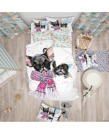 Designart 'Lovely Puppies With Neck Shawls' Modern and Contemporary Duvet Cover Set - Queen