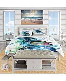 Designart 'Large Blue Dolphin Watercolor' Nautical and Coastal Duvet Cover Set