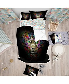 Designart 'Fierce Tiger Head On Black' Modern and Contemporary Duvet Cover Set - Twin