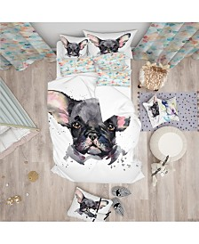 Designart 'Cute Watercolor Puppy Dog' Modern and Contemporary Duvet Cover Set - Twin
