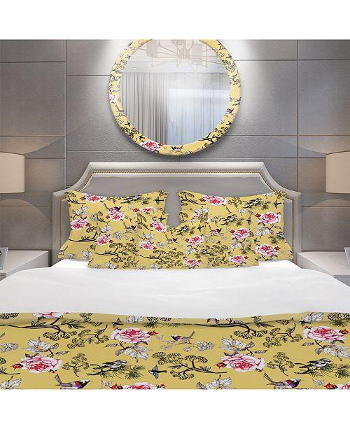 Design Art Designart 'Birds And Pink Roses Floral Pattern' Modern and Contemporary Duvet Cover Set - King
