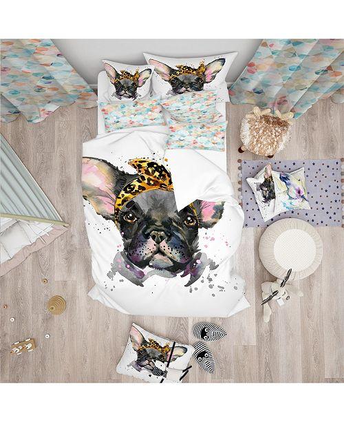 Design Art Designart 'Serious Black French Bulldog' Modern and Contemporary Duvet Cover Set - Twin