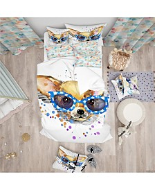 Designart 'Cute Puppy With Blue Glasses' Modern and Contemporary Duvet Cover Set - Queen