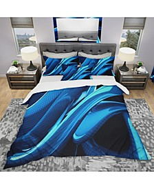 Designart 'Liquid Blue Abstract' Modern and Contemporary Duvet Cover Set
