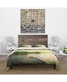 Designart 'Lake Under Evening Sun' Cabin and Lodge Duvet Cover Set - Queen