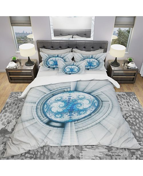 Design Art Designart 'Glowing Soft Blue Fractal Flower' Modern and Contemporary Duvet Cover Set - King