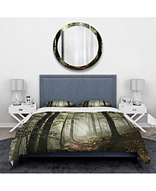 Designart 'Light In Dense Fall Forest With Fog' Traditional Duvet Cover Set - Twin