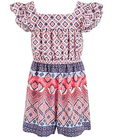 Little Girls Mixed-Print Romper