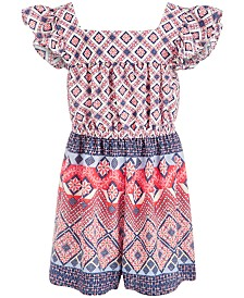 Bonnie Jean Little Girls Mixed-Print Romper