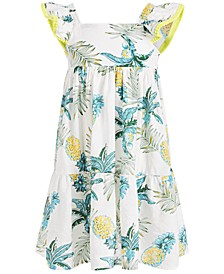 Toddler Girls Tropical-Print Textured Maxi Dress