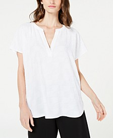Petite V-Neck Textured Top, Created for Macy's