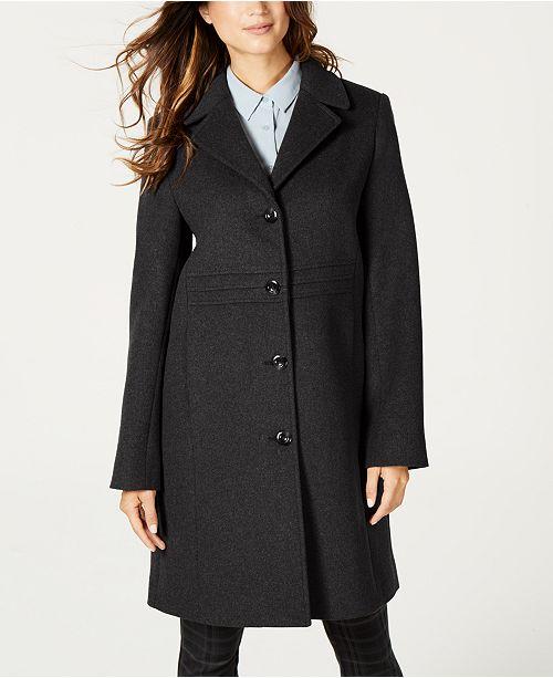 Jones New York Petite Single-Breasted Notch-Collar Wool Coat