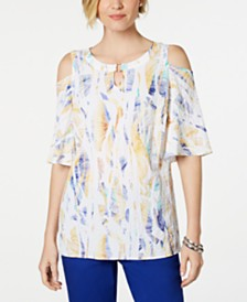 JM Collection Printed Cold-Shoulder Crinkle Texture Top, Created for Macy's
