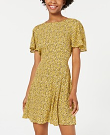 City Studios Juniors' Animal-Print Fit & Flare Dress