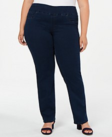 Plus Size Straight-Leg Pull-On Jeans, Created for Macy's