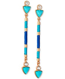 GUESS Gold-Tone Crystal, Stone & Thread-Wrapped Linear Drop Earrings