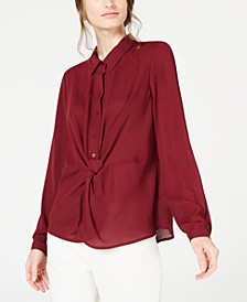 Petite Twist-Front Button-Up Top, Created For Macy's