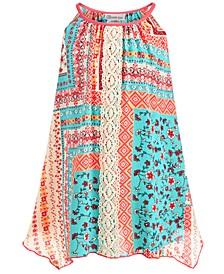 Little Girls Mixed-Print Lace-Front Dress